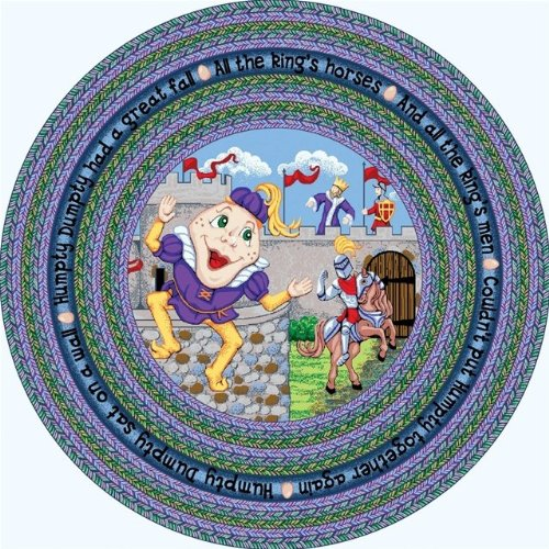 Joy Carpets 1476E Humpty Dumpty 7 ft.7 in. Round 100 Pct. STAINMASTER Nylon Machine Tufted- Cut Pile Just for Kids Rug