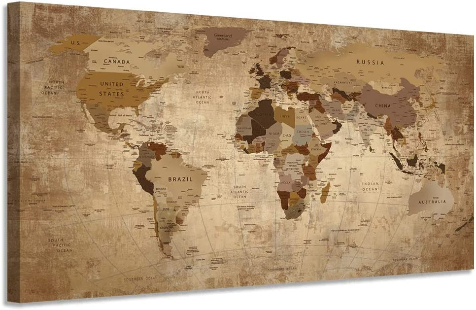 """Acocifi Canvas World Retro Map Wall Art Prints Beige Abstract 40""""x20"""" Medium Painting Vintage Picture Framed Artwork Poster Ready to Hang for Living Room Home Office Dinning Room Study Room Wall Decor"""