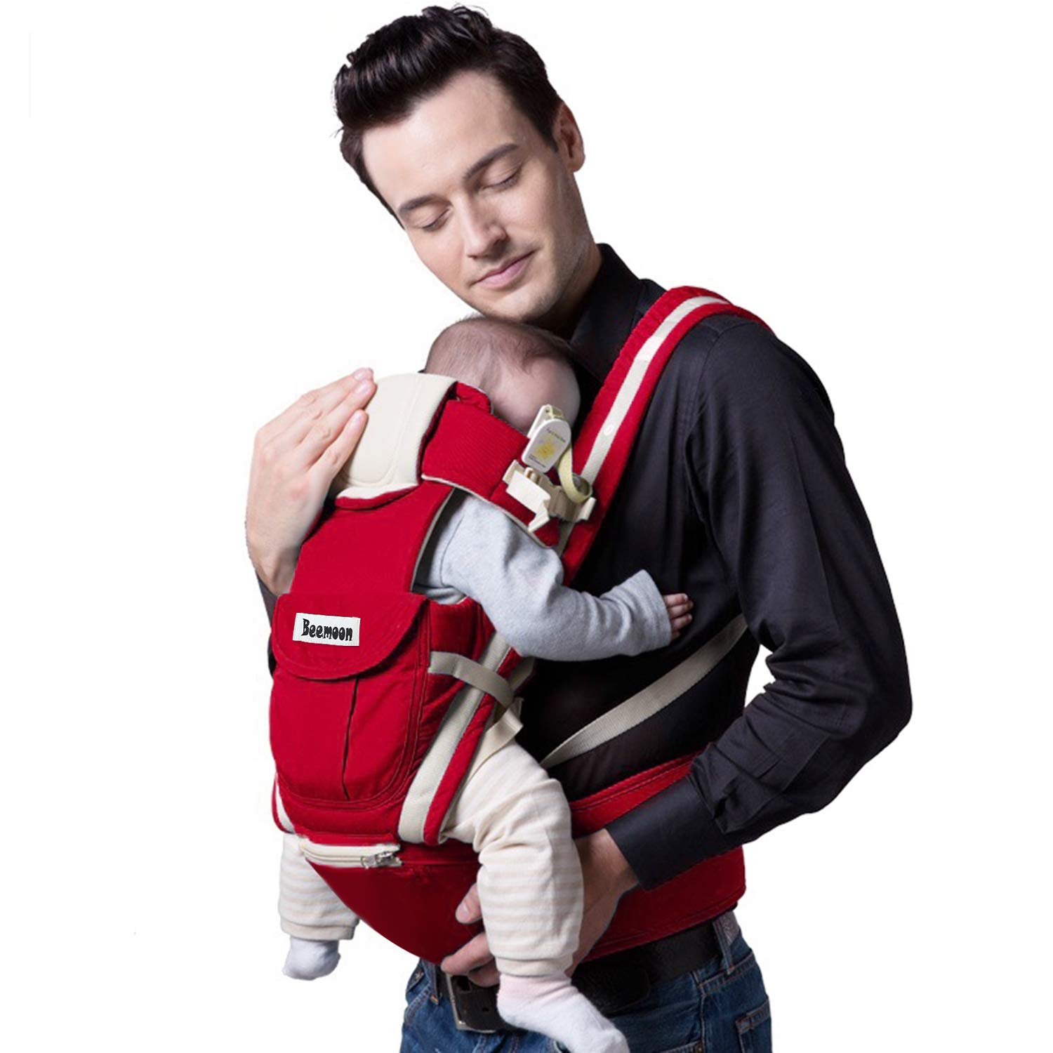 Beemoon 9-in-1 Ergonomic Baby Carrier with Hip Seat, Soft Carrier for All Shapes and Seasons, Perfect for Newborn, Infant Hiking Backpack Carrier BB018