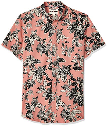 Goodthreads Men's Standard-Fit Short-Sleeve Printed Poplin Shirt, Pink Floral, ()