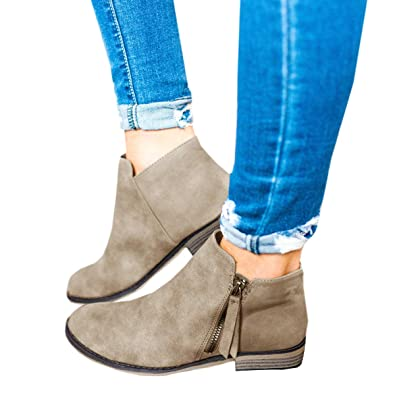 bd0e38ea62f Ofenbuy Womens Ankle Boots Pointed Toe Faux Leather Stacked Low Heel Side Zipper  Booties Beige