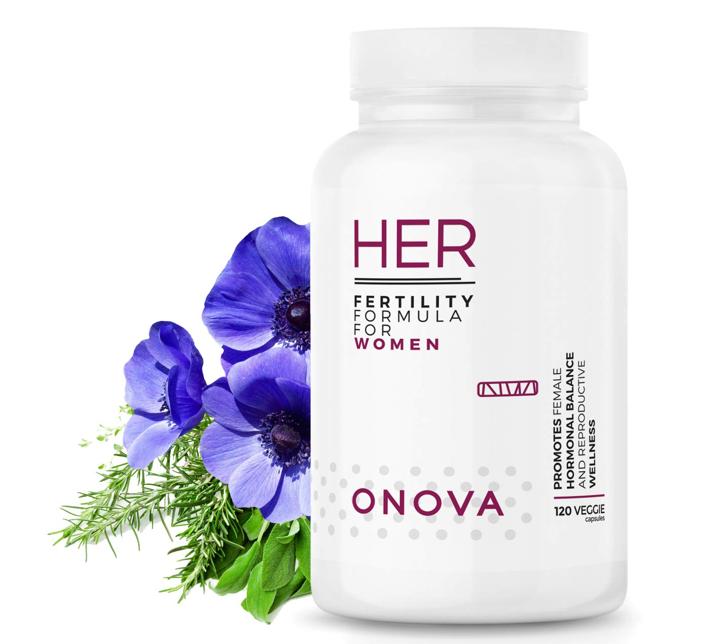 ONOVA Prenatal Fertility Supplement - Regulate Your Cycle, Balance Hormones, Improve Egg Quality, Aid Ovulation, 2000mg Blend of Myo-Inositol for PCOS, Folic Acid, Vitex, CoQ10