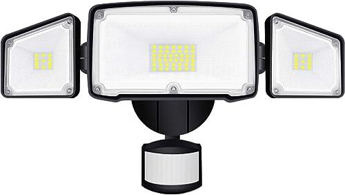 AOBISI Motion Sensor Lights Outdoor,3 Adjustable Heads Dusk to Dawn Security Lights Motion Sensor Outdoor IP65 Waterproof,4000LM Led Flood Lights Outdoor Motion Sensor