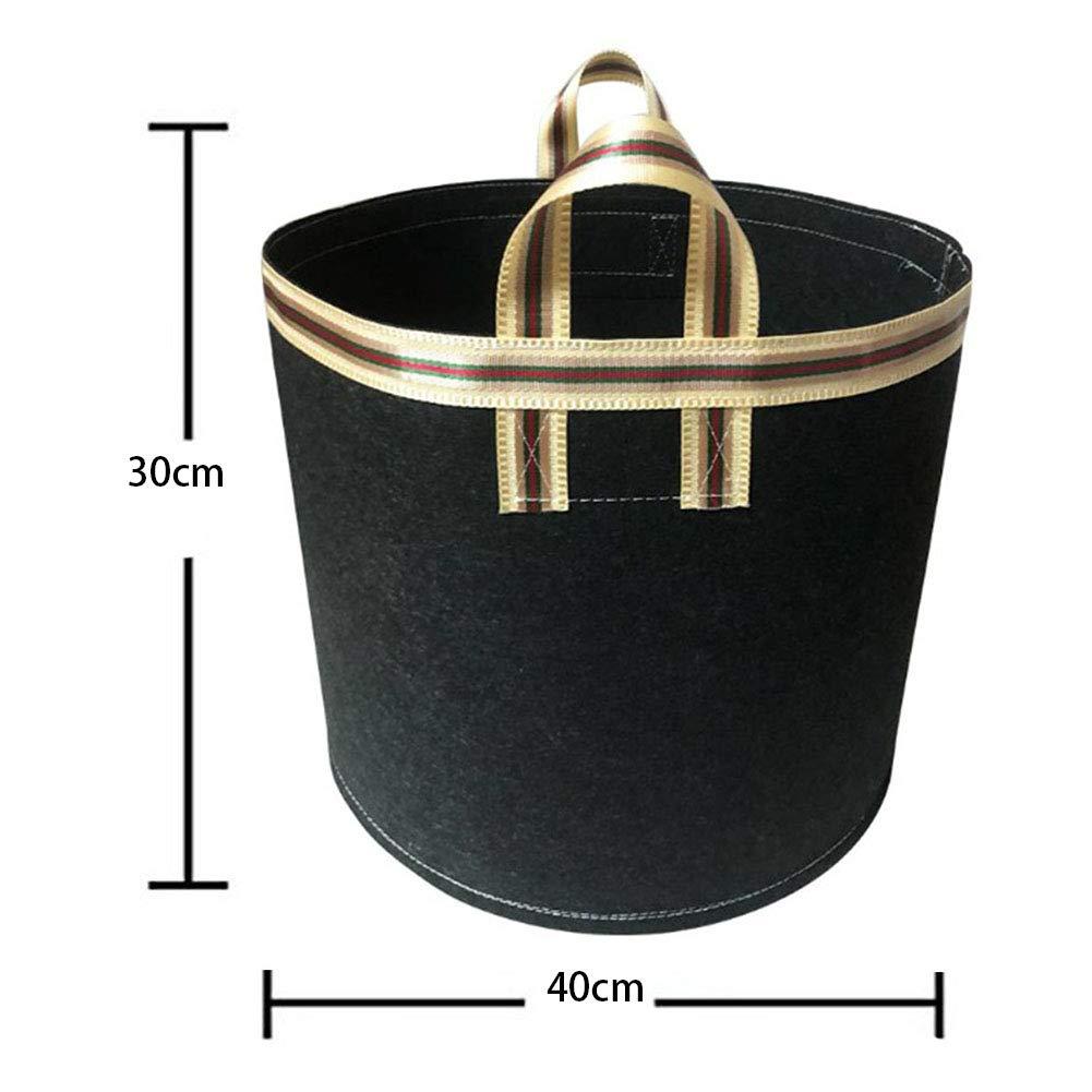 RANRANHOME 5-Pack 10 Gallonen wachsen Taschen//f/ür Kartoffel verdickter Filz Pflanzbeutel//Bel/üftungs-Stoff-T/öpfe mit Griffen schwarz