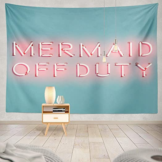 ONELZ Wall Hanging Tapestry Mermaid Quote with Letters Neon Neon Quote Invitation Mermaid Graphic Decor Collection Bedroom Living Room 60 L X 80 W Polyester Polyester Blend