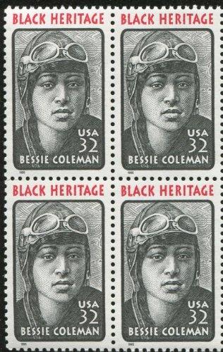 BESSIE COLEMAN ~ BLACK HERITAGE ~ AVIATOR ~ QUEEN BESS ~ PILOT #2956 Block of 4 x 32¢ US Postage Stamps United States Postal Service Postage