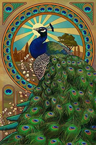 Peacock - Art Nouveau (12x18 Art Print, Wall Decor Travel Poster)