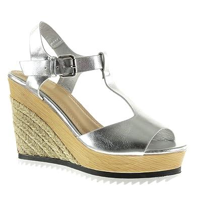 6b171d6025e9b0 Angkorly Chaussure Mode Sandale Espadrille Plateforme Salomés Peep-Toe Femme  Corde Brillant Bois Talon Compensé