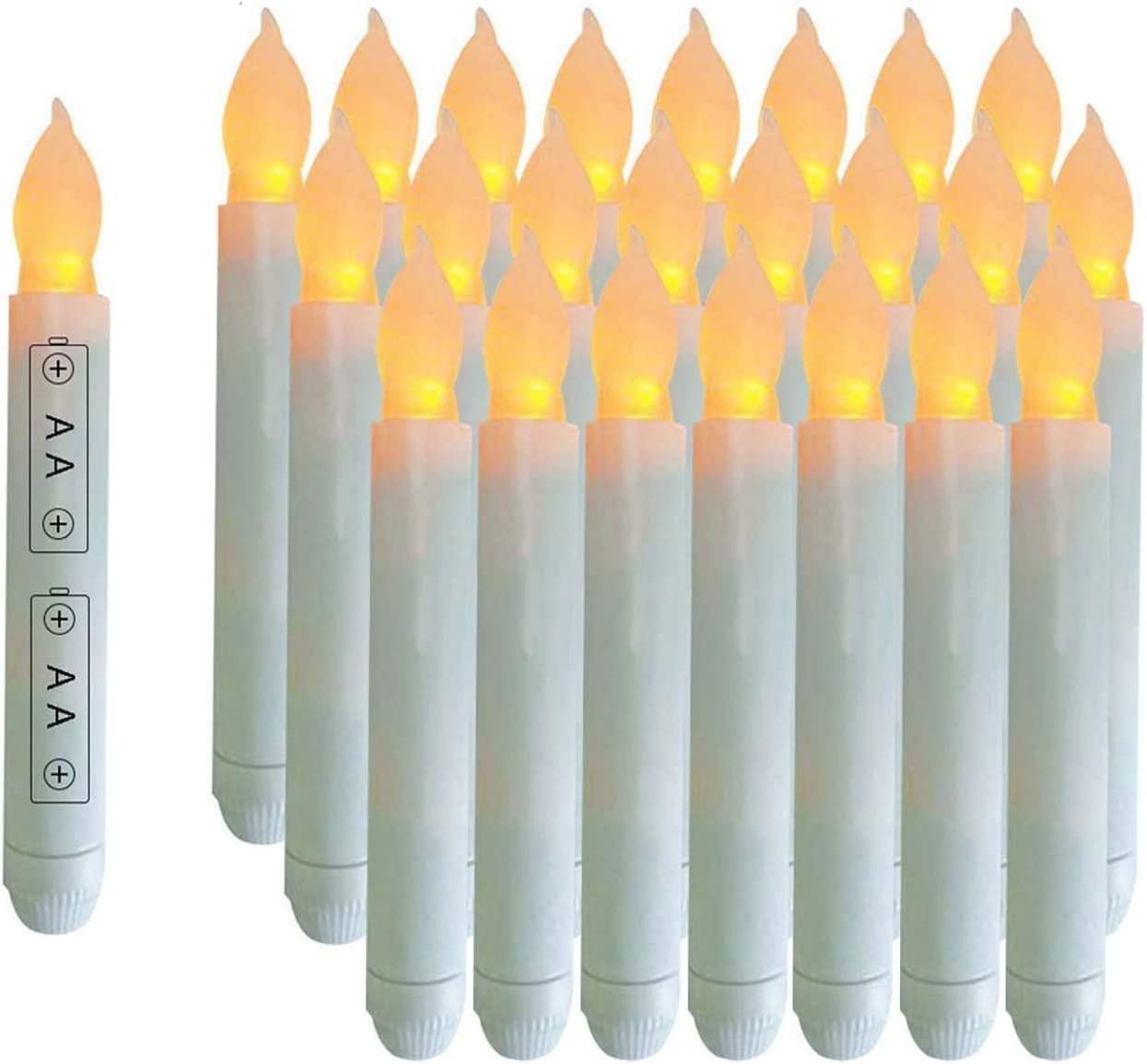 Houdlee Pack of 24 Flameless Taper Candles Battery Operated Flickering Ivory Led Candle for Christmas Wedding Party Candelabra Flicker Amber Taper Candles Table Centerpiece – 6.5 Inch Candle