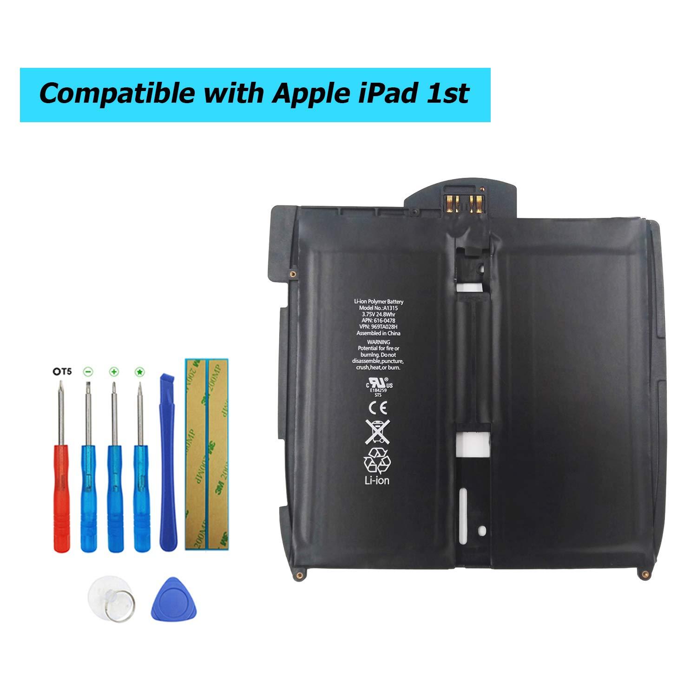 Bater/ía de Repuesto para iPad 1st Gen 741-0025-A Upplus A1315 3,75 V, 6600 mAh, A1219, A1337, 616-0448, con Kit de Herramientas