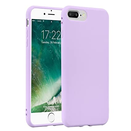 JAMMYLIZARD Phone Case for Apple iPhone 8 Plus iPhone 7 Plus Ultra Slim Silicone Jelly Back Cover, Lilac