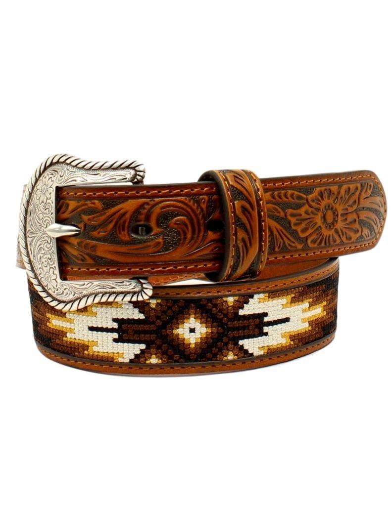 Nocona Boy's Tribal Stitched Belt, Tan, 28
