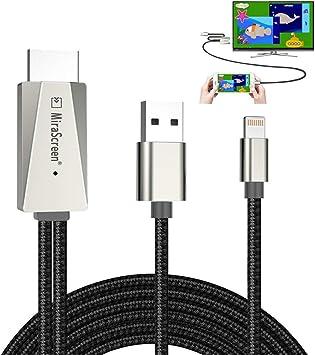 AHOMASH - Cable HDMI Compatible con iPhone iPad a TV, Adaptador AV ...