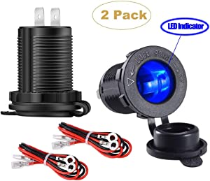 YONHAN Cigarette Lighter Socket 12V Power Outlet Receptacle with Blue LED for Car Marine Motorcycle Scooter RV and More, 2-Pack