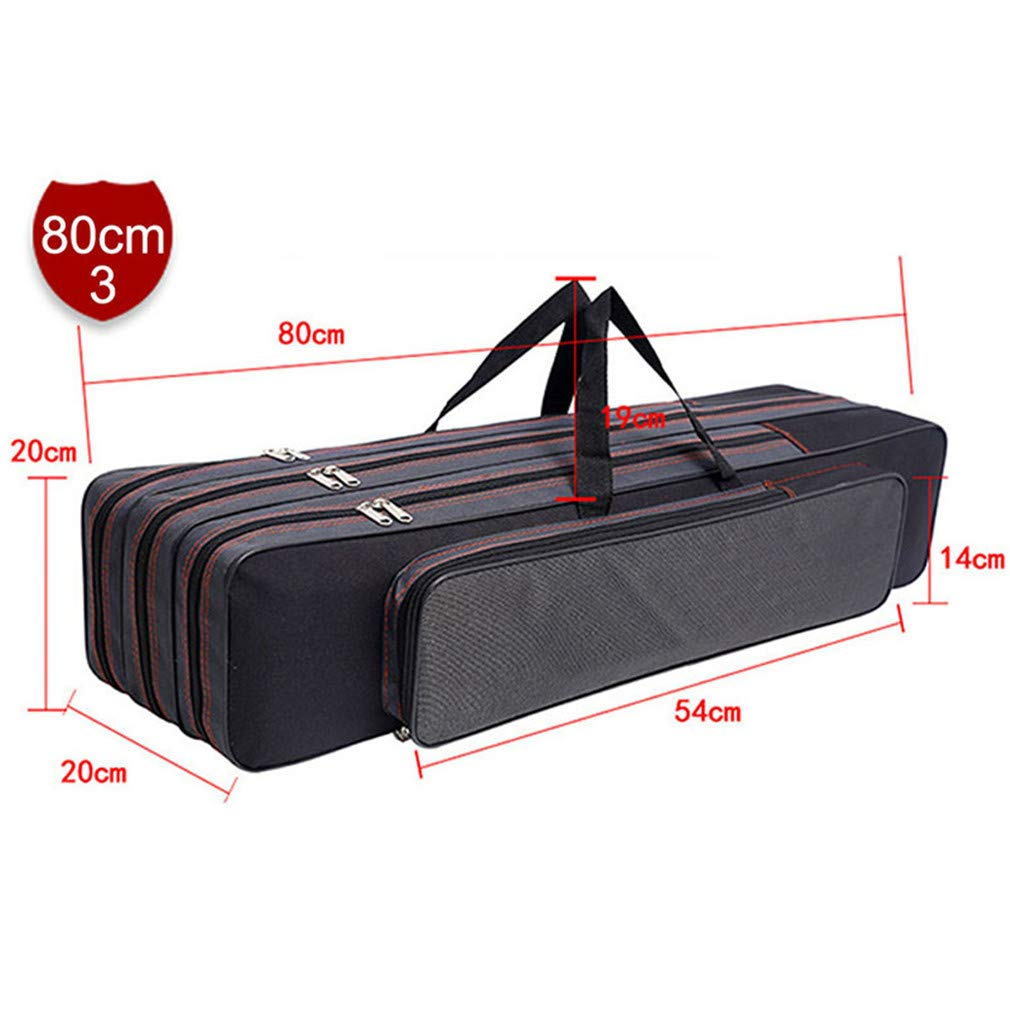 Purpume Waterproof Fishing Rod Bag Case for Fishing Tools 2/3 Layer Canvas Telescopic Backpack 80cm 3-Layer