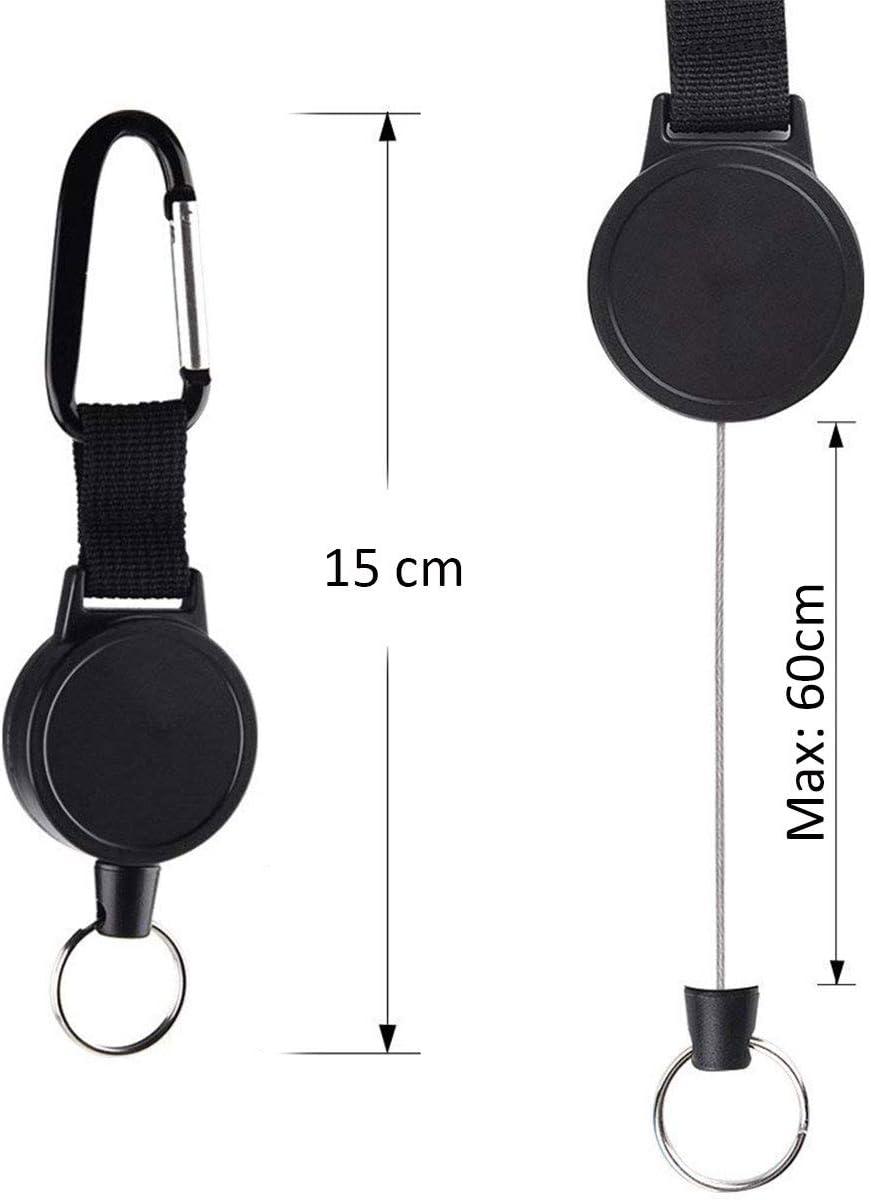 Llavero retr/áctil de pl/ástico negro para camping accesorios