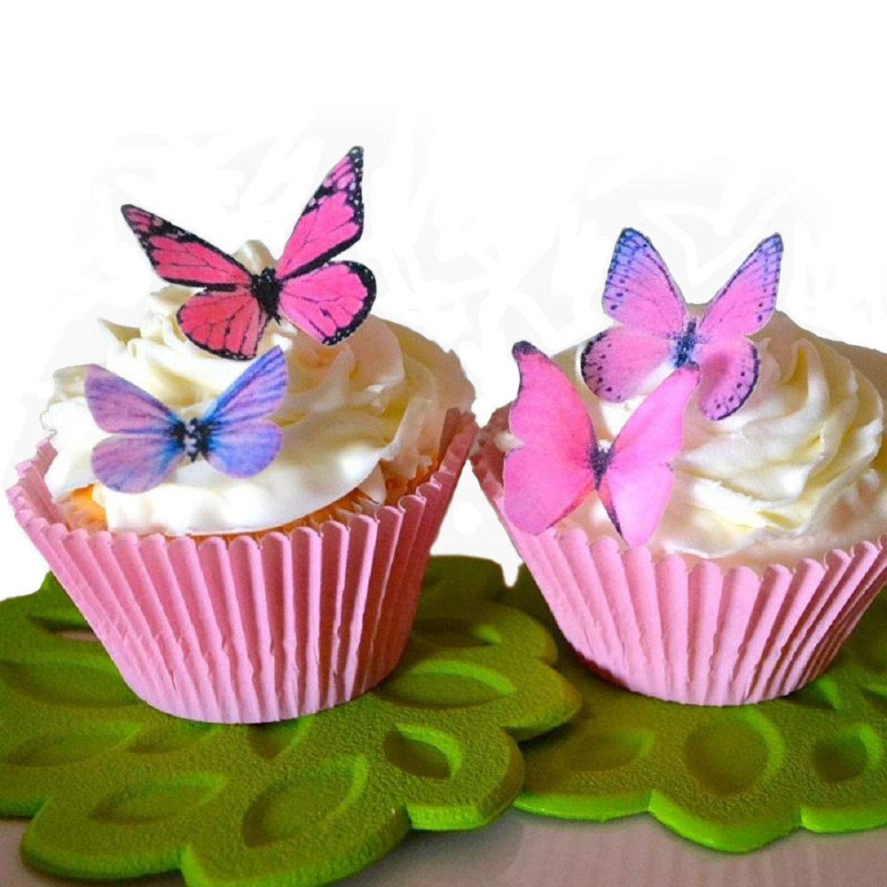 EORTA 60 Pieces Butterflies Cake Decoration Mixed Colour Edible ...