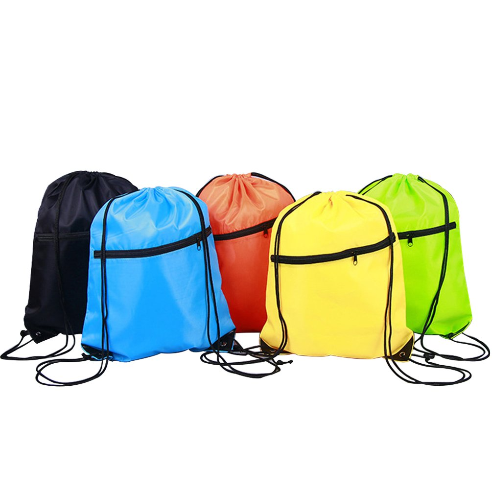 swesy軽量スポーツポータブルバックパックGym Sack Pack巾着バッグ旅行用デイパック B07C3LW6K3  Pack of 5 Two Pockets