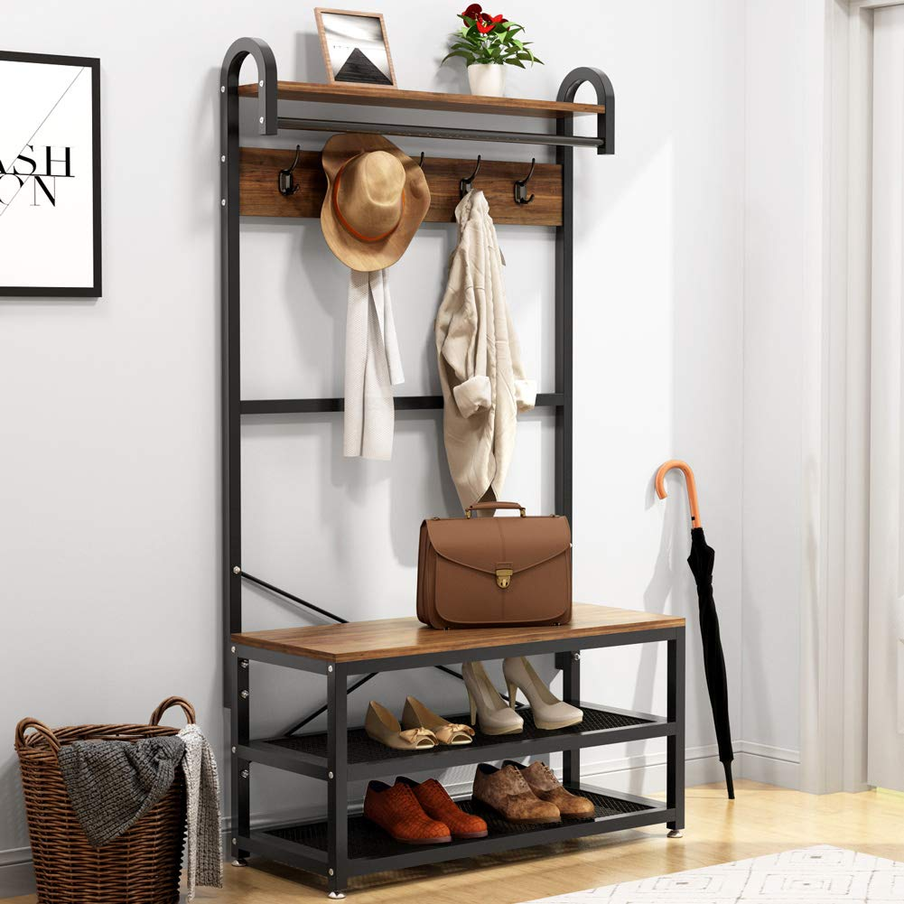 Tribesigns Vintage 4 in 1 Hall Tree with Storage Bench, 3-Tier Industrial Entryway Bench with Coat Rack and Hanging Bar, Coat Rack Stand with Shoe Rack, Storage Shelf and 5 Hooks (Rustic) by Tribesigns