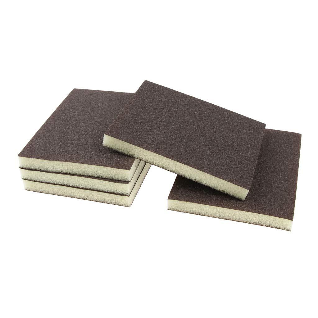 Homyl 5 Stü ck Schleifschwamm zum Abschleifen von Farbe, Fü ller, Lack, Holz, Metall und Kunststoff Schleifschwamm 80 Kö rnung (Grau)