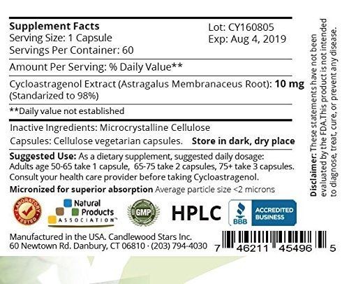 Mega Cycloastragenol, 98% Purity! 10 mg - 60 Vegetarian Capsules. Micronized for optimal absorption and bioavailability. Manufactured in USA. Lab purity certified!