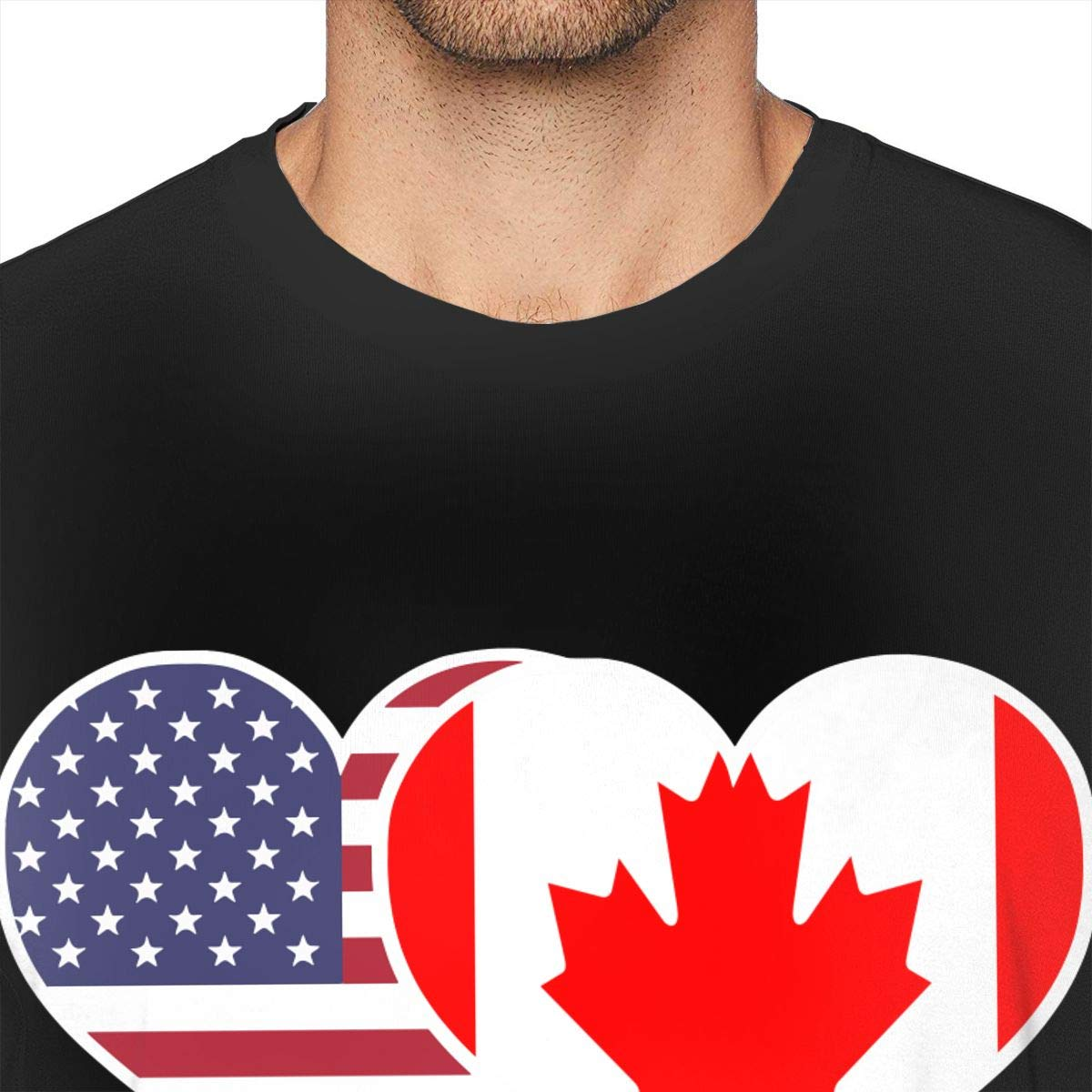 Mens American Canada Flag Heart Short Sleeve Tee Essential Shirt for Running