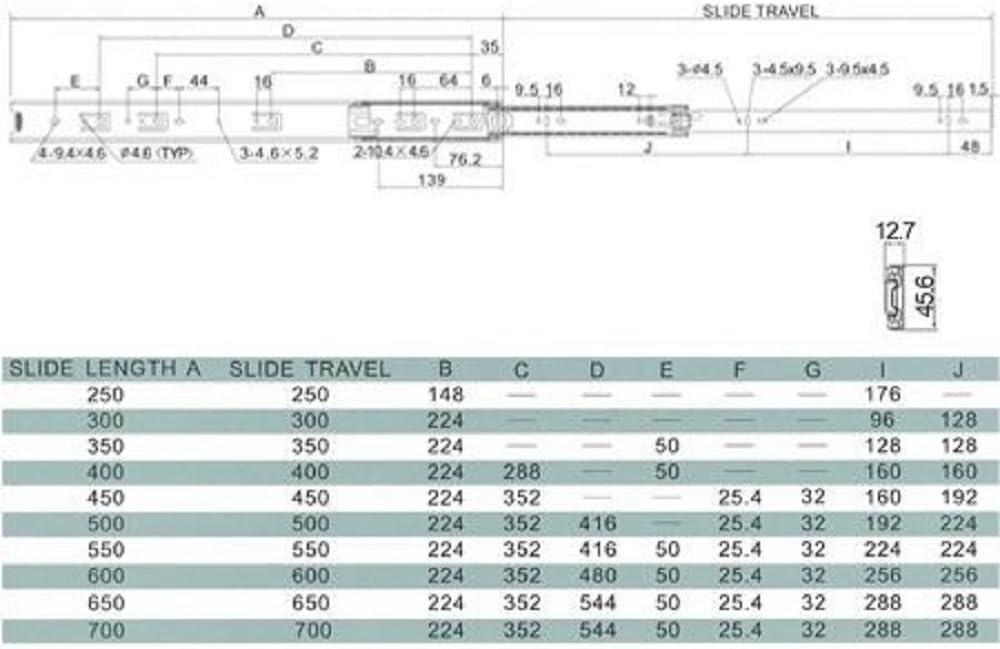 Gu/ía de rodamiento met/álica para cajones de extensi/ón completa
