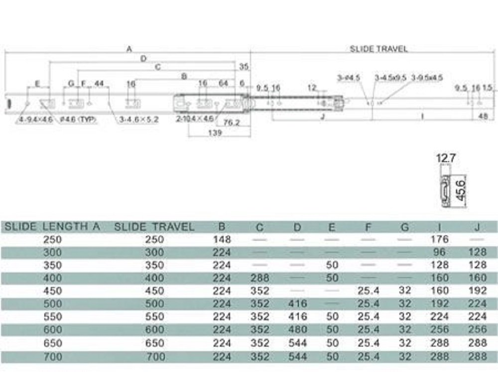 Solid Metal Steel Drawer Ball Bearing Runners Slides Full Extension 1 Pair - 350mm