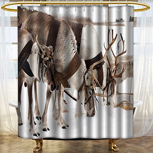 (SOCOMIM Shower Curtain with Hooks Reindeers are in harness during of winter day Mildew Resistant Waterproof/W54 x)