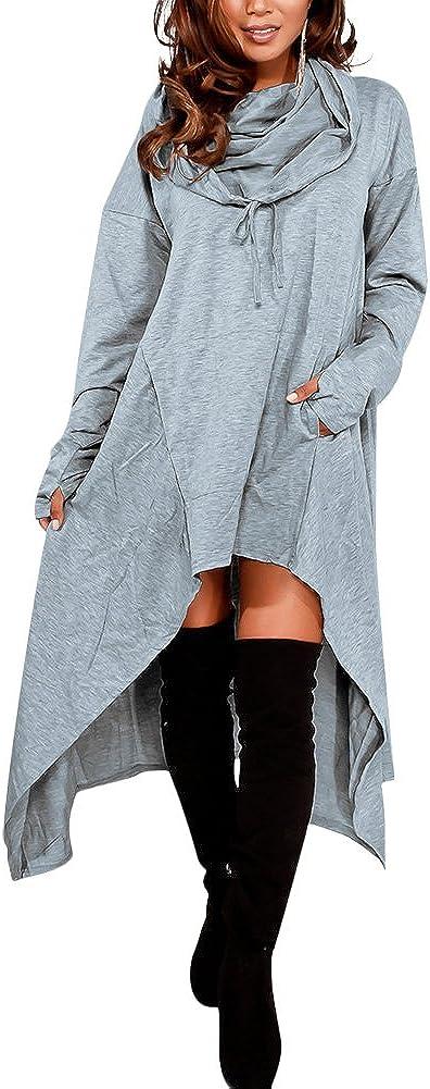 Sharemen Womens Long Sleeve Blouse Fall Pullover Loose Leisure Stylish Asymmetrical Hem Tops