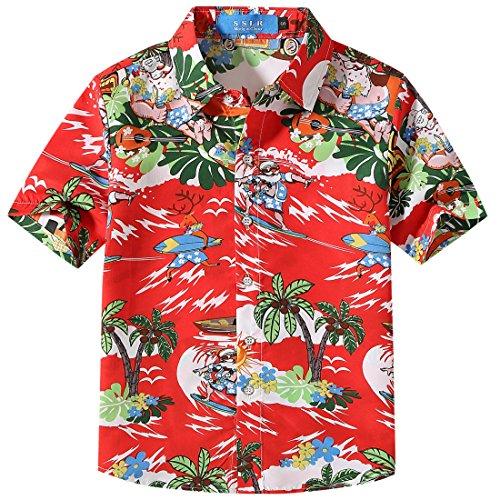fdda8edf SSLR Big Boys' Santa Claus Party Tropical Ugly Hawaiian Christmas Shirts  (Large (14