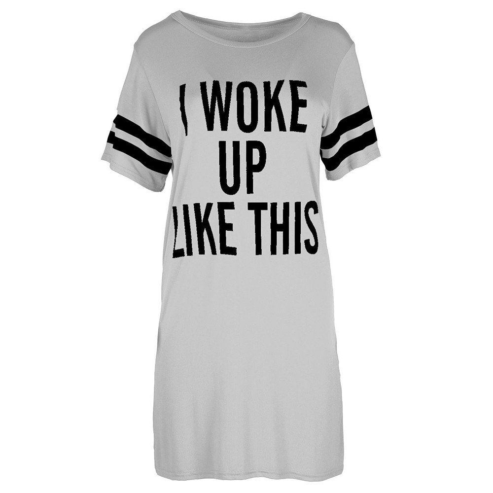 Kalinyer Womens Baggy Dress I Woke Up Like This Jersey T Shirt Pajama Sleep Dorm Shirt Tunic Sleepwear