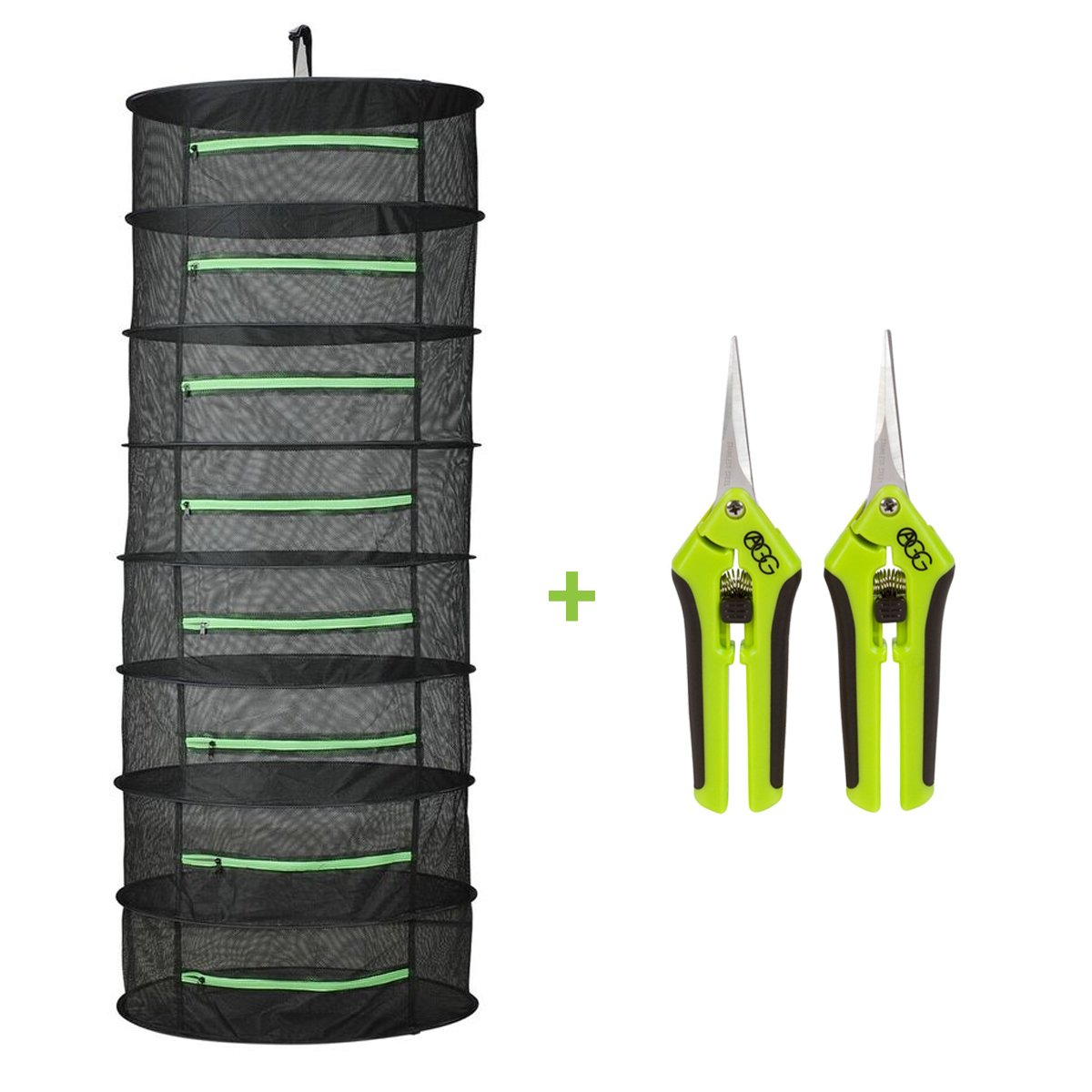 Active Gear Guy Enclosed Hanging Mesh Dry Rack for Herbs, Buds, and Fruit with Two Trim Scissors. One Straight Blade and One Curved Blade. For Gardens, Hydroponics, Orchards, and Grow Tents.