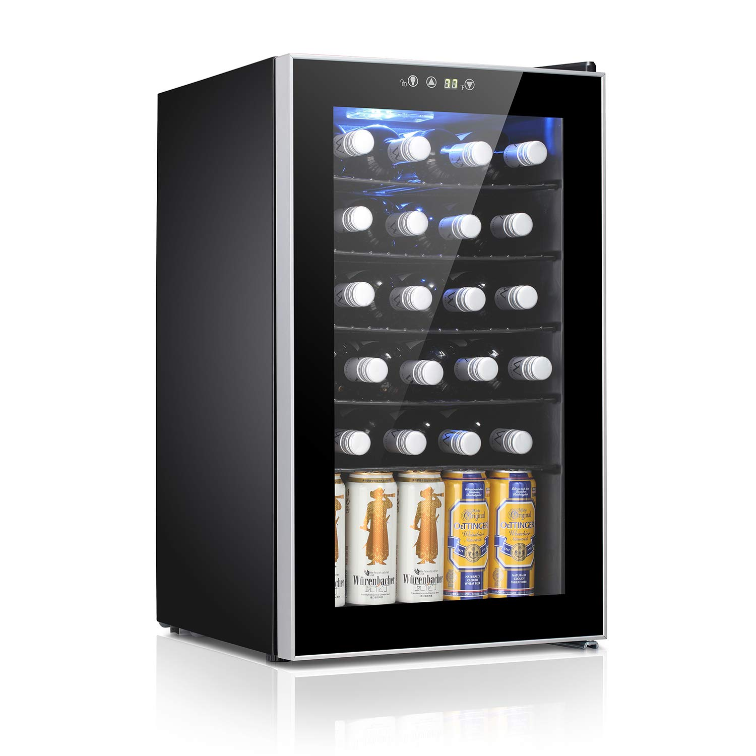 Antarctic Star 24 Bottle Wine Cooler/Cabinet Beverage Refrigerator Small Red & White Wine Cellar Adjust Temperature Beer Counter Top Bar Fridge Quiet Operation Compressor Freestanding Black