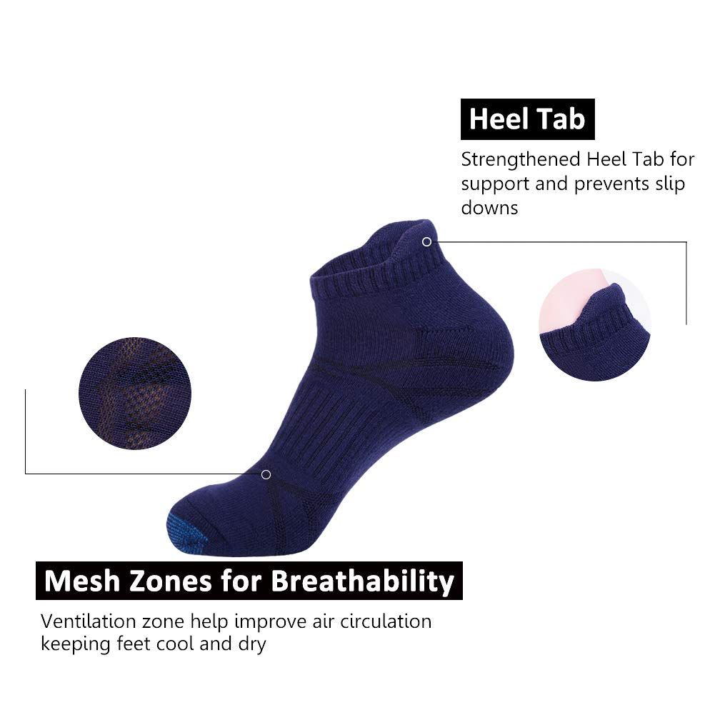 Mens Ankle Athletic Socks with Performance Cushion Tab for Sports Running 6Pack
