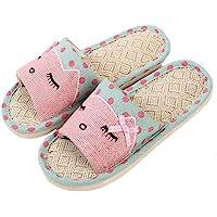 APIKA Linen Couple Home Slippers bedroom flax slipper Japanese Style Child Fun Cartoon Slippers Breathable Non-Slip…