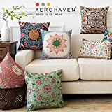"AEROHAVEN Abstract Satin Turkish Throw Pillow Cushion Covers - 16"" x 16"", 5 Piece, Multicolour"