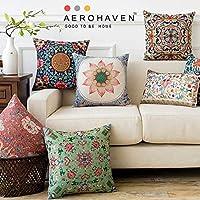 AEROHAVEN Satin Turkish Designer Decorative Throw Pillow/Cushion Covers Set of 5