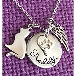 Cat Memorial Necklace - Personalized Cat Memorial Jewelry - Cat Memorial - Sterling Silver - Dainty Necklace - Personalized Sympathy Gift - High Quality