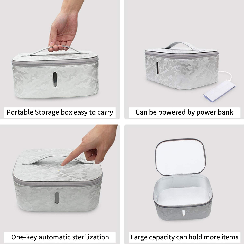 plateado Caja de desinfectante UV ZHIKE esterilizador de ozono Bolsa de almacenamiento de port/átil Limpiador de caja de luz UV,carga inal/ámbrica para tel/éfono adecuado para reloj,airpods,joyer/ía,