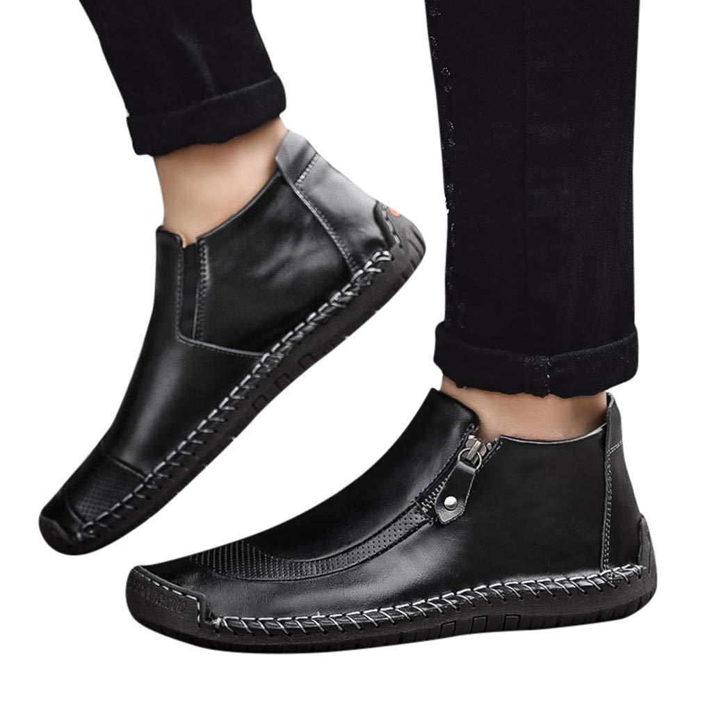Mens Chelsea Ankle Boots Soft Leather Slip-On Driving Loafers Oxford Walking Work Dress Shoes Resistant Shoes (US:10.5 (46), Black)