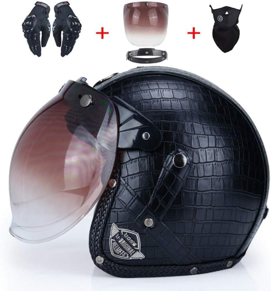 GHJGFGH Casque De Moto Moto Noir Vintage Visage Ouvert Demi Casque en Cuir Moto Moto Vespa,E-S