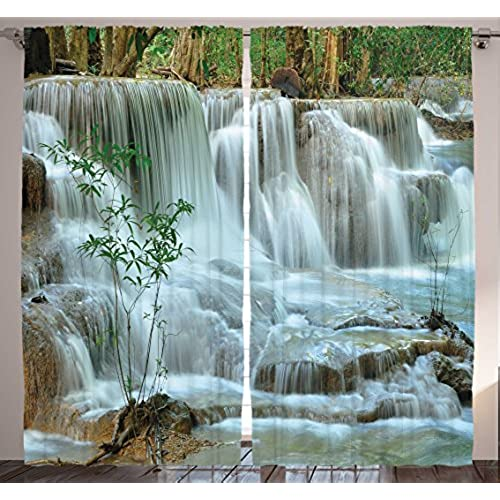 Ambesonne Green Curtains Nature Decor By Waterfall Bamboo Tree Japanese Style Garden View Picture Print Bedroom Living Room Curtain 2 Panels Set Modern
