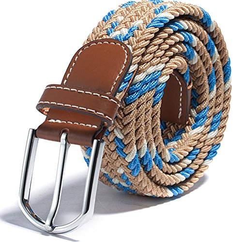 RevoLity Mens Multicolor Elastic Fabric Woven Braided Stretch Webbed Belt with PU Leather Buckle Length 105cm Colour (Beige) (Length Buckle)