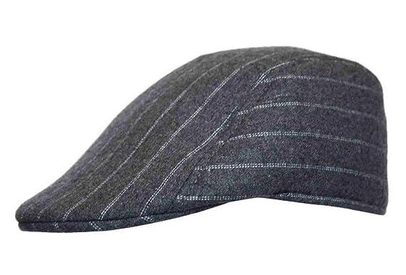 Preformed Pinstripe Flat Cap Hat with Peak Unisex in Grey  Amazon.co ... bc1064a48c8