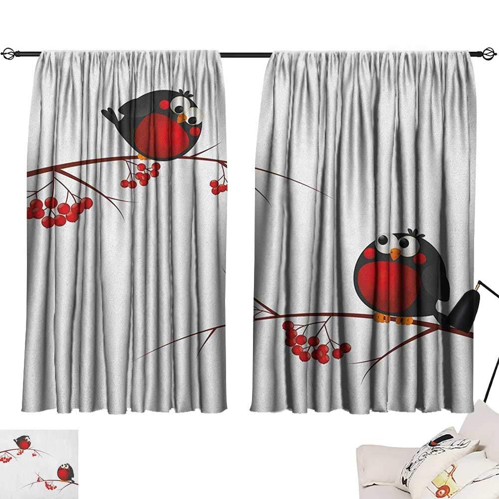 Pattern09 W63\ Beihai1Sun Rowan Decoration Darkening Curtains Cute Kids Themed Cartoon Style Birds on Branches Funny Happy Christmas Design Curtain for Bedroom Red Black White W63 x L45