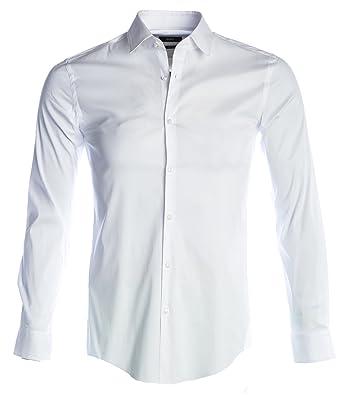 47111aa7e Amazon.com: BOSS Isko Stretch Shirt in White 42: Clothing