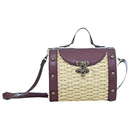 Bolso tejido de mujer vintage, bolso de ratán tejido a mano