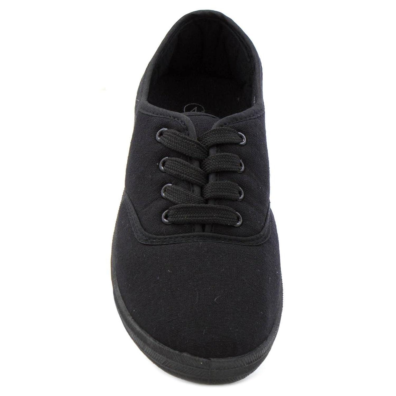 Zone - Zapatilla de lona, acordonada, a la moda, para mujer - Talla 6 UK / 39.5 EU - Negro