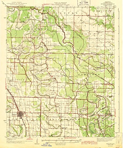 YellowMaps England AR topo map, 1:62500 Scale, 15 X 15 Minute, Historical, 1943, 19.8 x 16.5 in - Paper (Lake Culler)